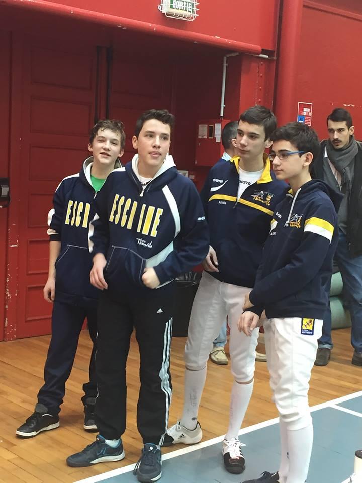 L'équipe cadettes (Adrien, Alexandre, Maxime, Ronan)