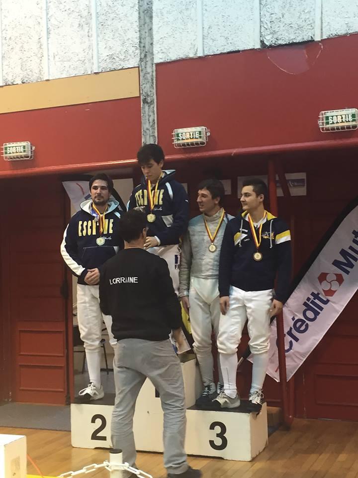 Le podium - seniors (Alexandre 1er, Thomas 2ème, Charles 3ème)